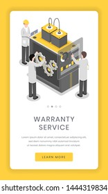 Warranty service, repairment mobile app screen. Software and hardware researchers solving issue with complex technology smartphone website design. Online assembly equipment distribution