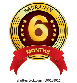 Warranty for Six Month isolated on white background. Vector Warranty for Month.