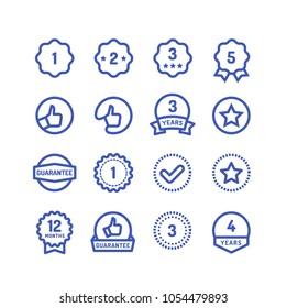 Warranty stamps line icons. Goods durability guarantee circular vector symbols isolated. Illustration of guarantee stamp, label seal