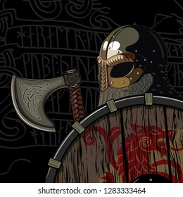 Warrior Barbarian, Viking Berserker with axe and shield, isolated on black, vector illustration