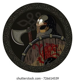 Warrior Barbarian Viking Berserker with axe and shield, isolated on white, vector illustration