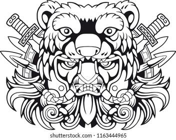 warrior berserker, viking, design vector contour illustration