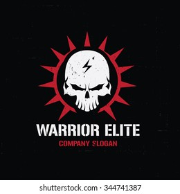 Warrior Elite Logo,Skull logo,dark logo,rock logo,vector logo template