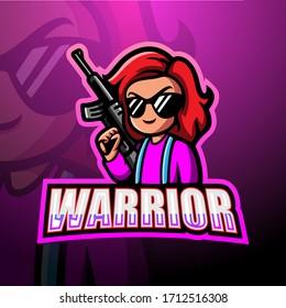 Warrior girl mascot esport logo design