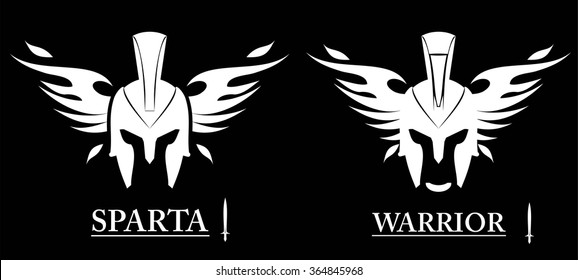 Warrior Head. front view of winged warrior head combine with text and sword icon. sparta helmet isolated on black background. Suitable for team identity, mascot, community icon, product identity, etc.