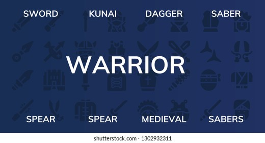 warrior icon set. 32 filled warrior icons. on blue background style Simple modern icons about  - Sword, Kunai, Dagger, Saber, Spear, Medieval, Sabers, Viking, Wushu, Ninja, Armour