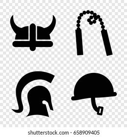 Warrior icons set. set of 4 warrior filled icons such as knight, helmet, chain weapon