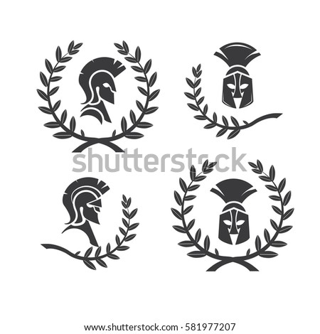 Warrior Icons Spartan Style Stylized Helmet Stock Vector Royalty