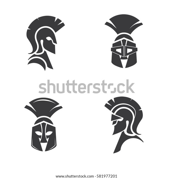 Warrior icons in spartan style. Stylized helmet and soldier silhouettes. Symbol of strength. Collection of Spartan soldier symbols. EPS 10 vector.