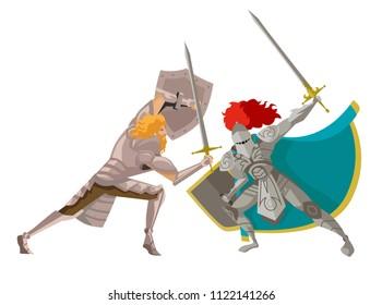 warrior knight fighting