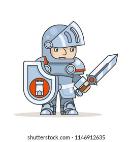 Warrior knight shield sword fantasy medieval RPG action game character isolated icon vector illustration