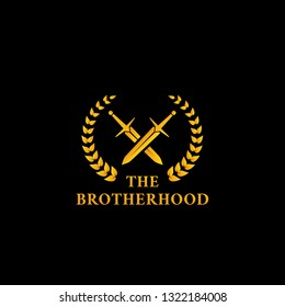 The warrior knight sword fighter brotherhood logo icon symbol with crossed sword and laurel wreath in gold color illustration