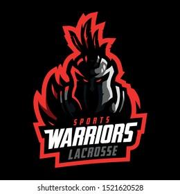 Warrior lacrosse sport logo template