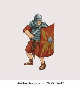 Warrior legionary of ancient Rome vector illustration.