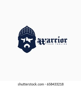 Warrior logo template design. Vector illustration.