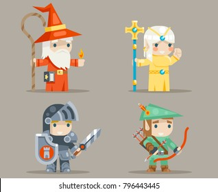 Warrior Mage Priest Archer Fantasy Game RPG Human Elf Character Vector Icons Set Vector Illustration