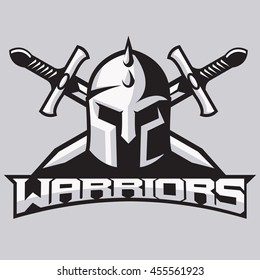 Warrior mascot for sport teams. Helmet with swords, logo, symbol on a light background.