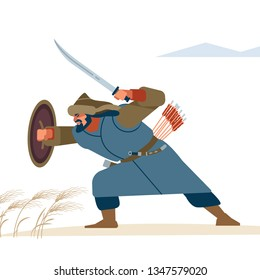 Warrior in posie protection in battle. Historical illustration. Isolated vector flat illustration