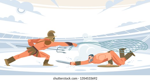 Warrior retiarius and Gladiator Spartacus in battle in the arena. Vector isolated illustration. Flat cartoon style.