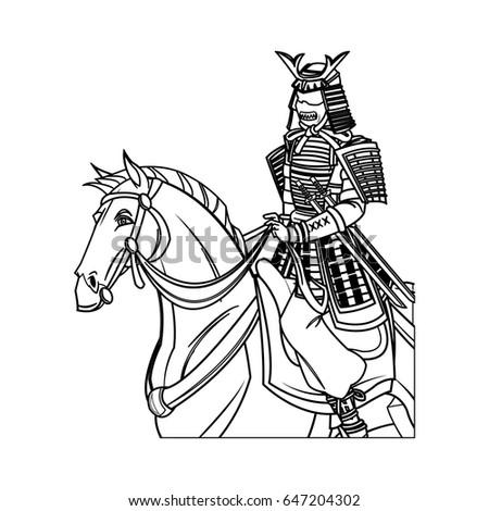 Warrior Samurai Armor Traditional Riding Horse Stock Vector Royalty