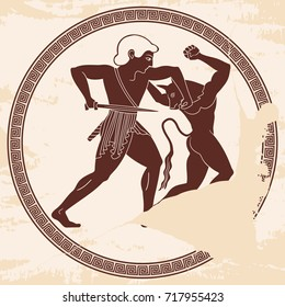 A warrior with a sword in his hands. Theseus kills the minotaur. Vector illustration in ancient Greek style with the aging effect.