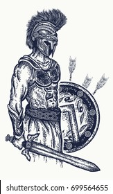 Warrior tattoo and t-shirt design. Gladiator spartan holding sword and shield. Symbol of bravery, force, army, hero. Legionary of ancient Rome and ancient Greece