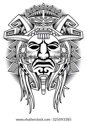 Warrior Tribal Mask Vector Illustration Stock Vector Royalty Free