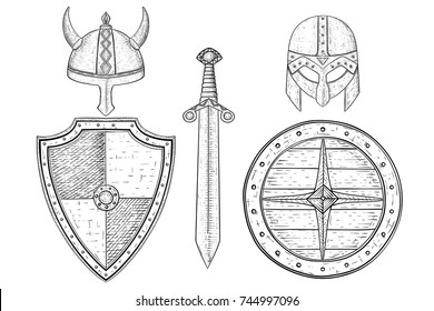 Warrior weapons - old medieval shields, helmets, sword. Hand drawn sketch. Vector illustration isolated on white background