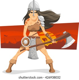 warrior woman cartoon illustration