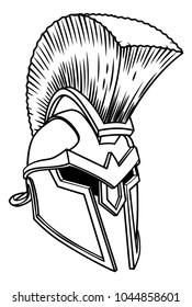 A warriors ancient Greek Spartan, Roman gladiator or trojan armour helmet