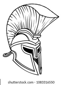 A warriors ancient Greek Spartan, Roman gladiator or trojan helmet