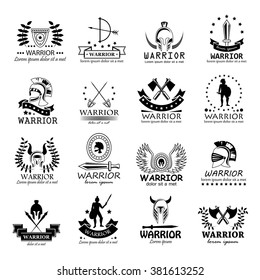 Warriors Icons Set-Isolated On White Background-Vector Illustration, Graphic Design.For Web, Websites, Print, Presentation And Promotional Materials.Collection Of Sparta,Greek,Military,Weapon Symbols