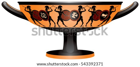 Warriors On Ancient Greece Kylix Drinking Stock Vector Royalty Free