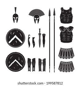 Warriors series - Spartan warriors equipment vector