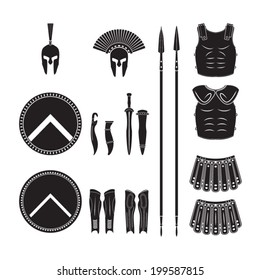 Warriors series - Spartan warriors equipment vector