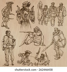 WARRIORS and Soldiers (set no.10) - Collection of an hand drawn vector illustrations. Each drawing comprise three layers of lines, the colored background is isolated. Editable.