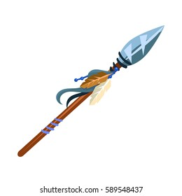 Warriors Spear Cold Weapon, Native American Indian Culture Symbol, Ethnic Object From North America Isolated Icon