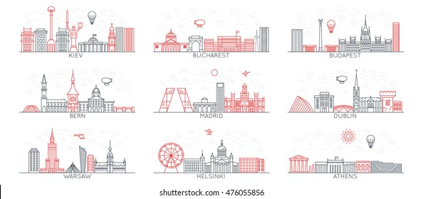 Warsaw. Bern. Madrid. Helsinki. Athens. Dublin. Kiev. Bucharest. Budapest. With famous landmarks monuments and buildings. Line art illustrations. Modern design