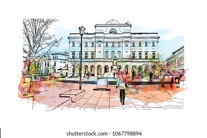 Warsaw Capital of Poland. Watercolor splash with hand drawn sketch illustration in vector.