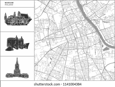 Warsaw city map with hand-drawn architecture icons. All drawigns, map and background separated for easy color change. Easy repositioning in vector version.