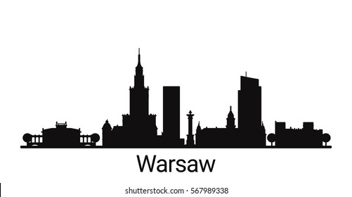 Warsaw city outline skyline. All Warsaw buildings - customizable objects, so you can simple change skyline composition. Minimal design.