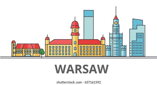Warsaw city skyline: buildings, streets, silhouette, architecture, landscape, panorama, landmarks. Editable strokes. Flat design line vector illustration concept. Isolated icons on white background