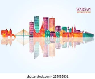 Warsaw detailed skyline. vector illustration