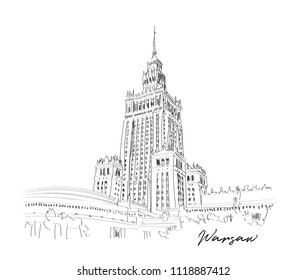 warsaw illustration. palace of culture and science. hand drawn poland sketch.