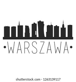 Warsaw Poland. City Skyline. Silhouette City. Design Vector. Famous Monuments.