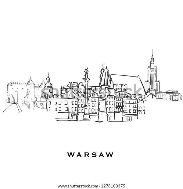 Warsaw Poland Famous Architectureoutlined Vector Sketch Stock Vector