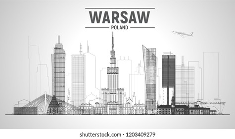 Warsaw (Poland) line skyline with panorama on white background. Vector Illustration. Business travel and tourism concept with modern buildings. Image for presentation, banner, web site.