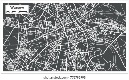Warsaw Poland Map in Retro Style. Vector Illustration. Outline Map.