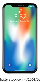 WARSAW, POLAND - SEPTEMBER 12, 2017: New iPhone X is a smartphone developed by Apple Inc. Apple releases the new iPhone X. Vector illustration.