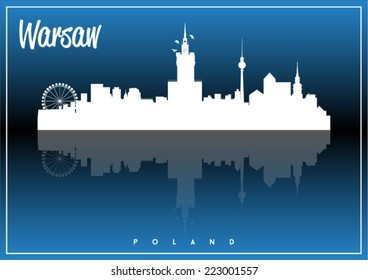 Warsaw, Poland, skyline silhouette vector design on parliament blue and black background.